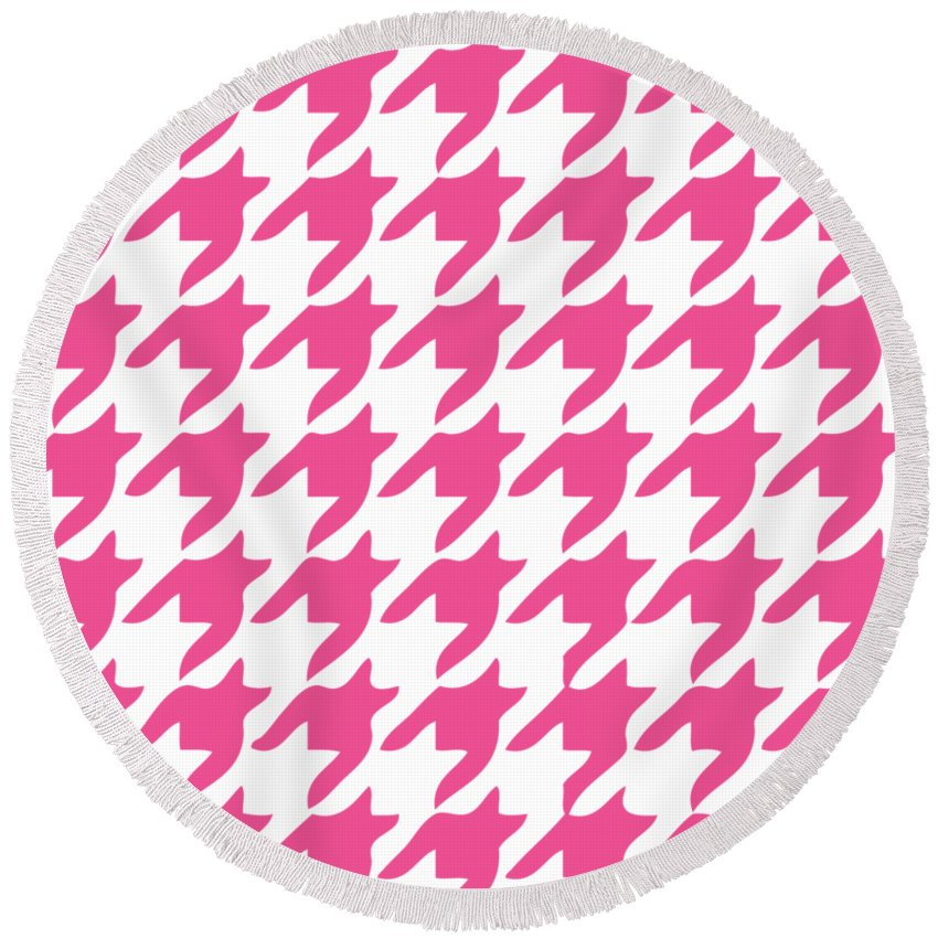 Rounded Houndstooth Round Beach Towel featuring the digital art Rounded Houndstooth With Border In French Pink by Custom Home Fashions