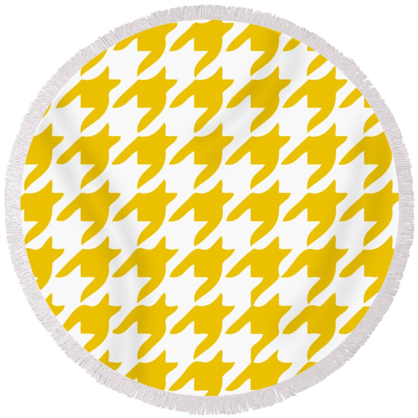 Rounded Houndstooth Round Beach Towel featuring the digital art Rounded Houndstooth With Border In Mustard by Custom Home Fashions