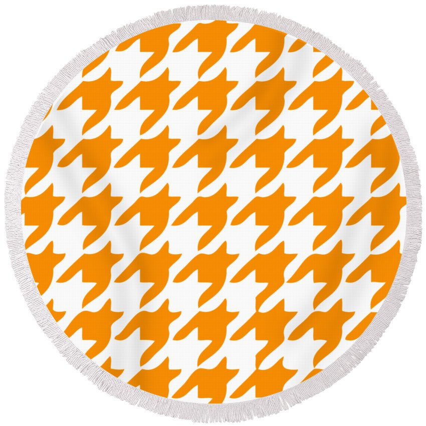 Rounded Houndstooth Round Beach Towel featuring the digital art Rounded Houndstooth With Border In Tangerine by Custom Home Fashions