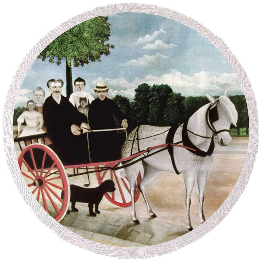 1908 Round Beach Towel featuring the photograph Rousseau: Cart, 1908 by Granger