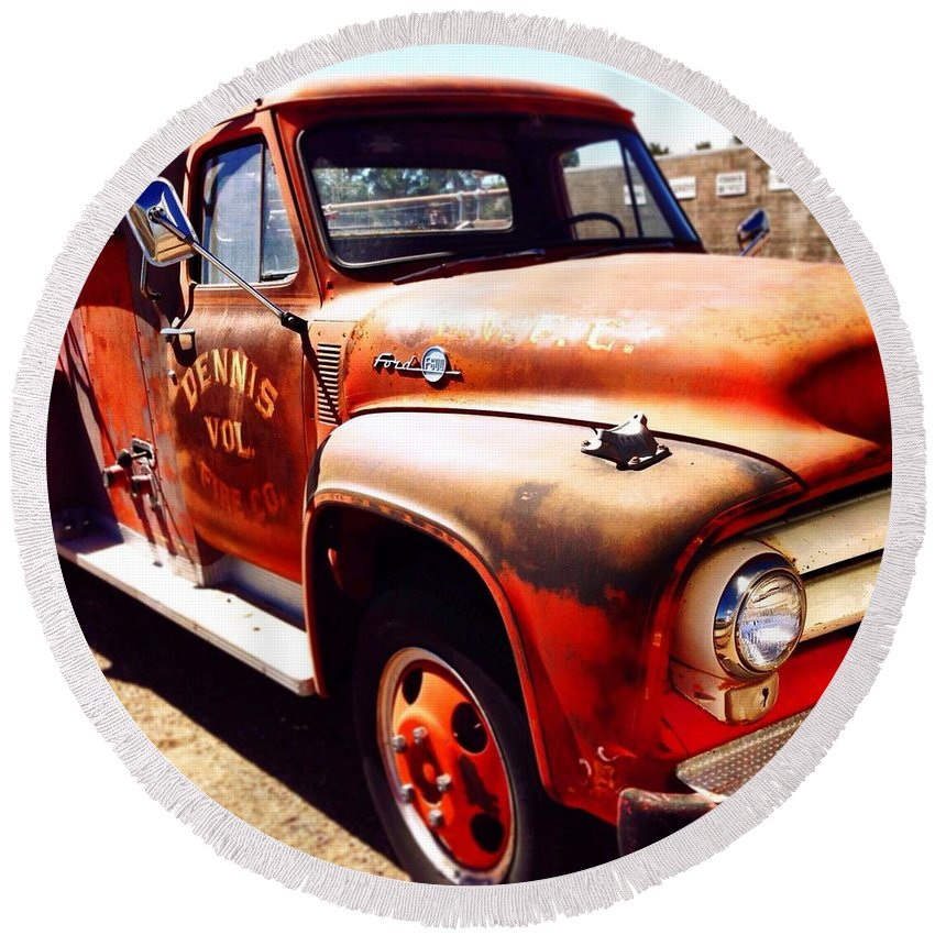 Fire Truck Round Beach Towel featuring the photograph Route 66 by Mark David Gerson