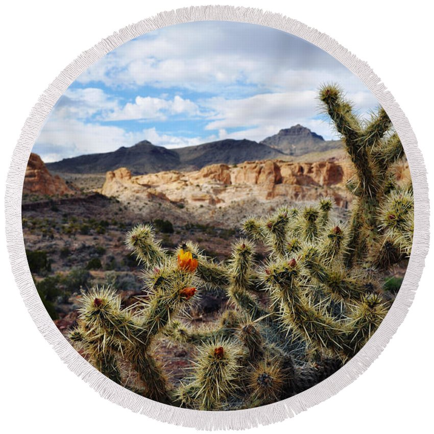 Route 66 Round Beach Towel featuring the photograph Route 66 Mojave Desert by Kyle Hanson
