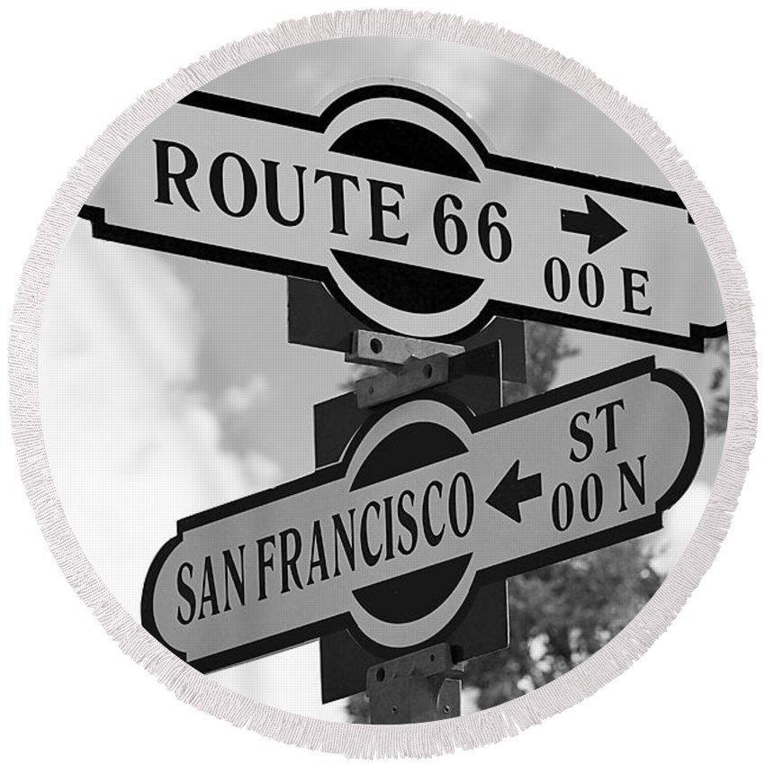 Sign Round Beach Towel featuring the photograph Route 66 Street Sign Black And White by Phyllis Denton
