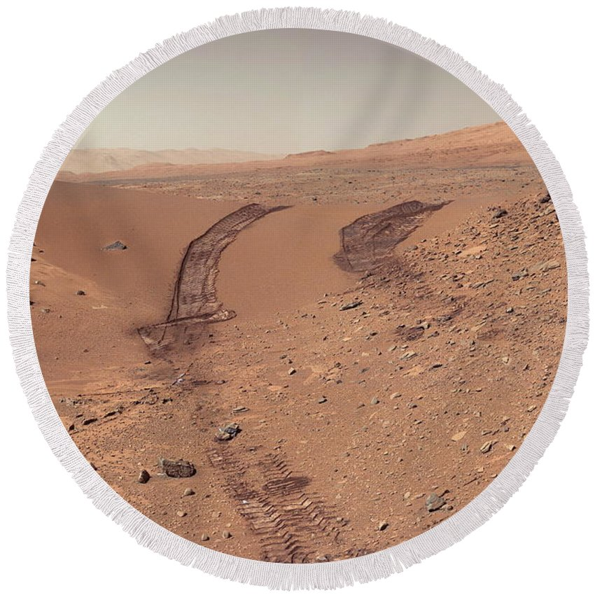 Mars Round Beach Towel featuring the photograph Roving Across Mars 1 - Earth Light by Nasa