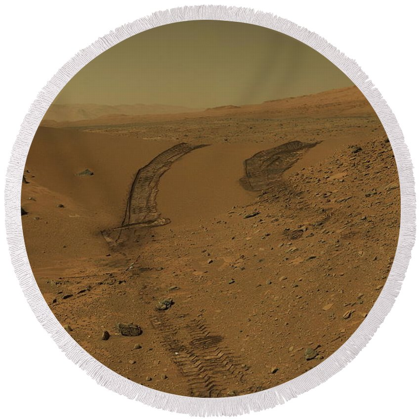 Mars Round Beach Towel featuring the photograph Roving Across Mars 2 - Mars Light by Nasa