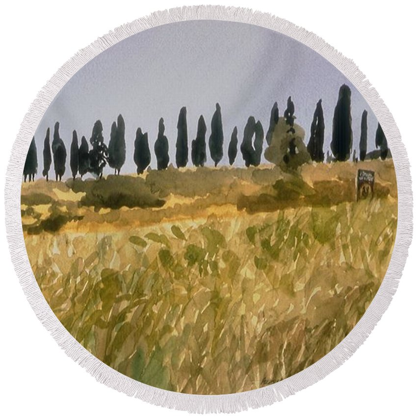 Italy Round Beach Towel featuring the painting Row Of Cypress Trees, Tuscany by Robert Bowden