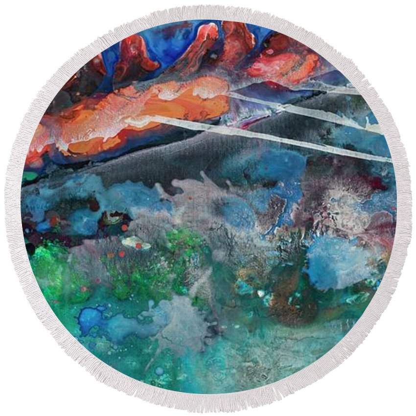 Abstract Round Beach Towel featuring the painting Row Your Boat by Kasha Ritter