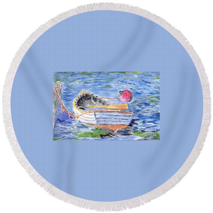 Row Round Beach Towel featuring the painting Rowboat by William Bowers