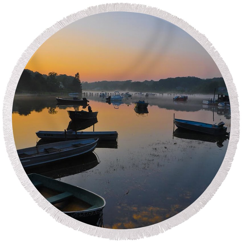 Harbor Round Beach Towel featuring the photograph Rowboats At Rest by Catherine Easton