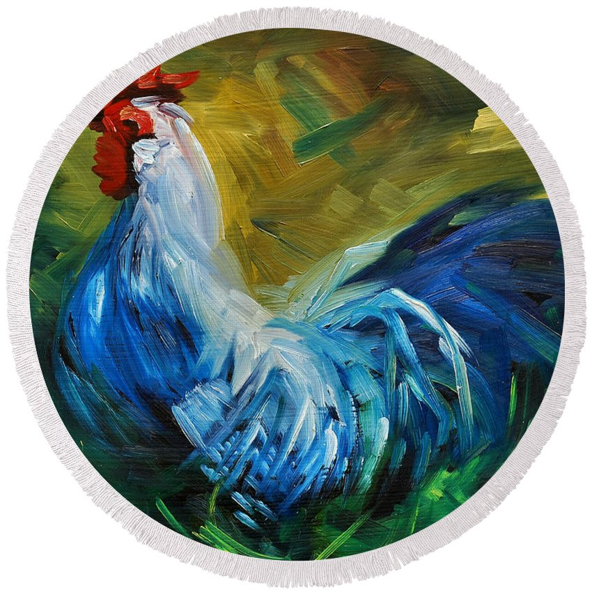 Rooster Round Beach Towel featuring the painting Rowdy Rooster by Diane Whitehead