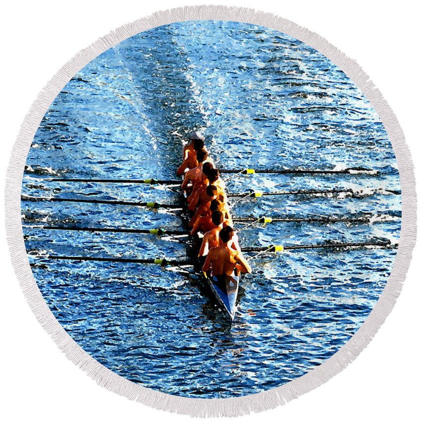 Rowing Round Beach Towel featuring the photograph Rowing In by David Lee Thompson
