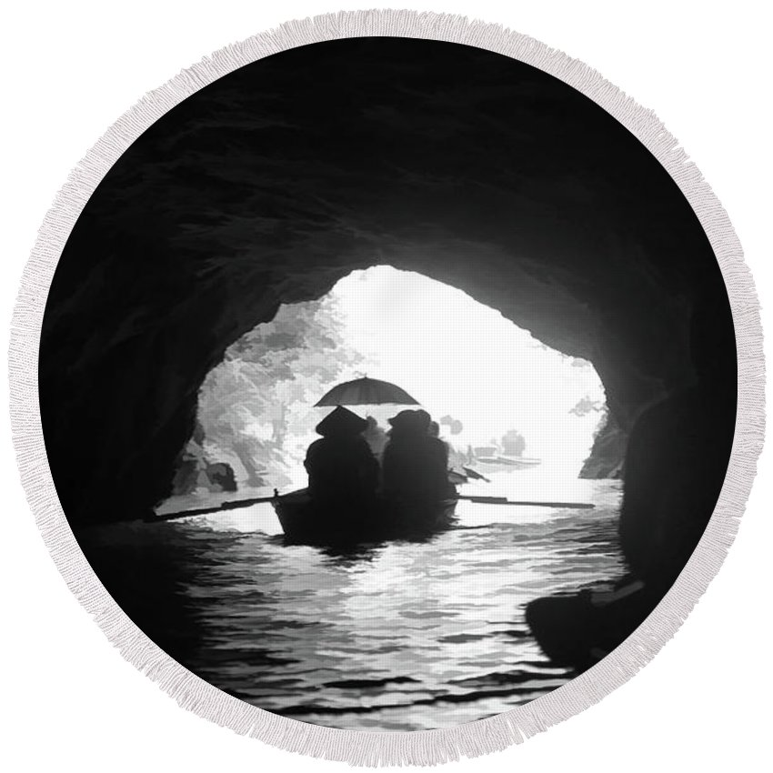 Vietnam Round Beach Towel featuring the photograph Rowing Through Cave Tam Coc Vietnam by Chuck Kuhn