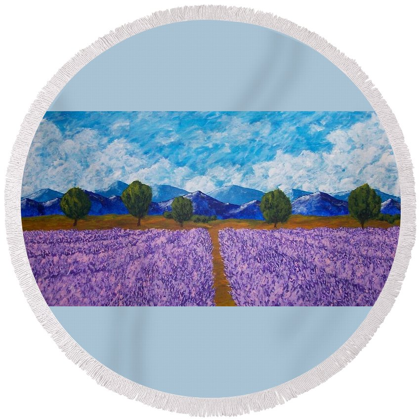& Collectibles Painting Acrylic Provence France Mediterranean Art French Countryside Landscape Painting Lavender Fields Mountain Scenery Hillside Painting Tree Artwork Purple Home Decor Modern Green Design Blue Modern Design Framed Art Yellow Artwork Round Beach Towel featuring the painting Rows Of Lavender In Provence by Mike Kraus