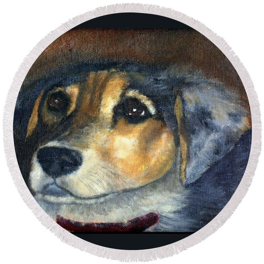 Dog Round Beach Towel featuring the painting Roxie by Gail Kirtz
