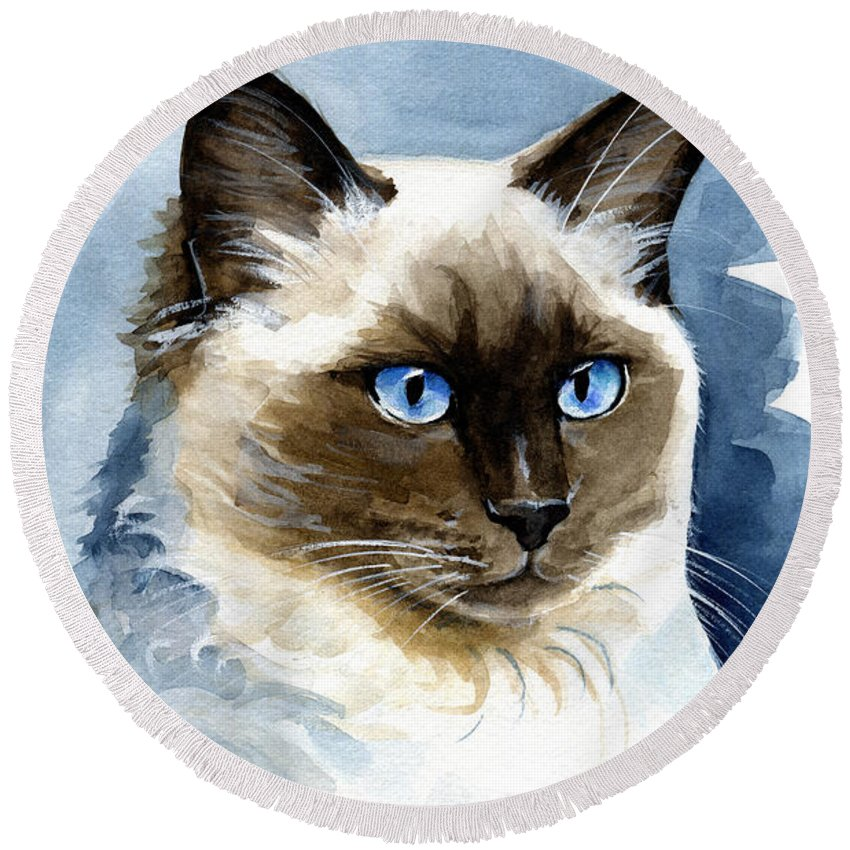 Cat Round Beach Towel featuring the painting Roxy - Ragdoll Cat Portrait by Dora Hathazi Mendes