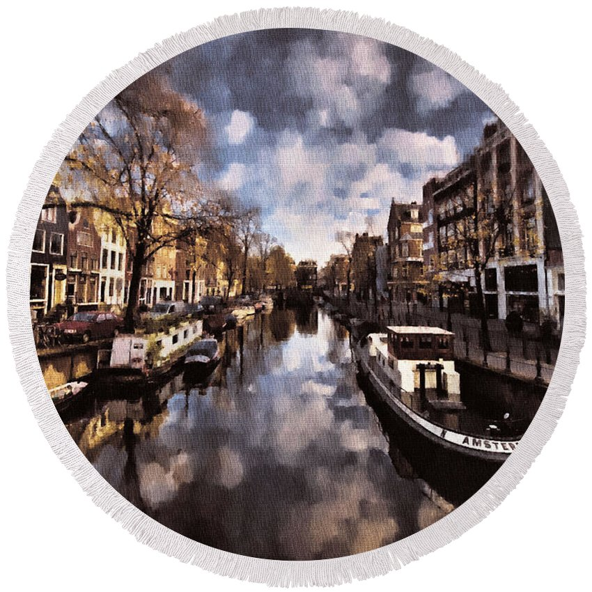 Holland Round Beach Towel featuring the painting Royal Dutch Canals by Mario Carini