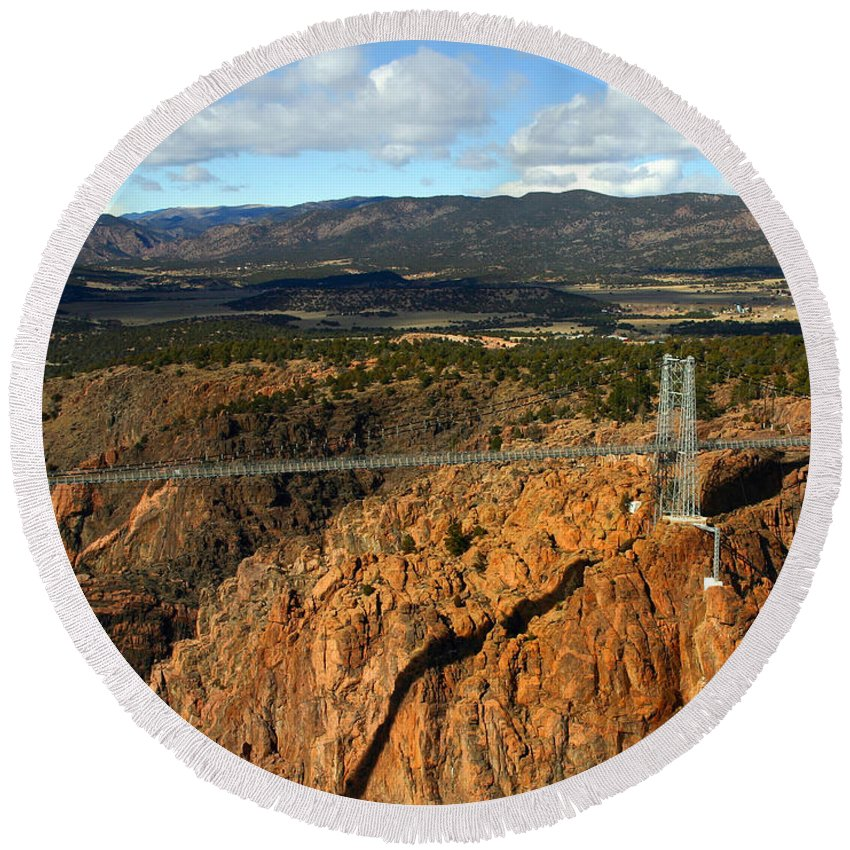 Royal Gorge Round Beach Towel featuring the photograph Royal Gorge by Anthony Jones