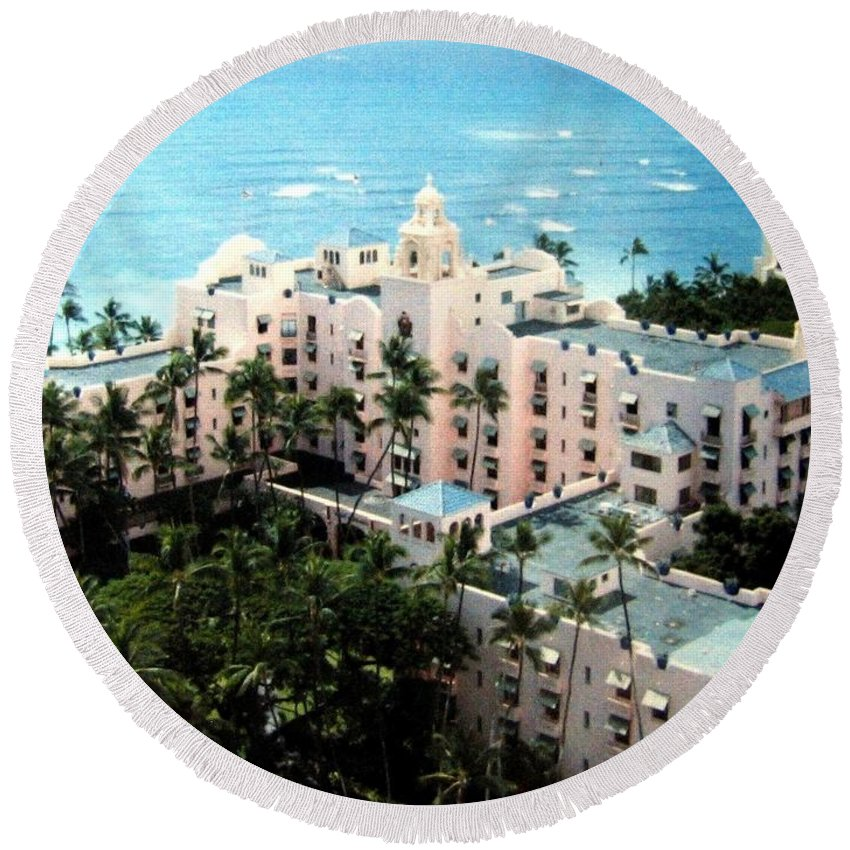 1986 Round Beach Towel featuring the photograph Royal Hawaiian Hotel by Will Borden