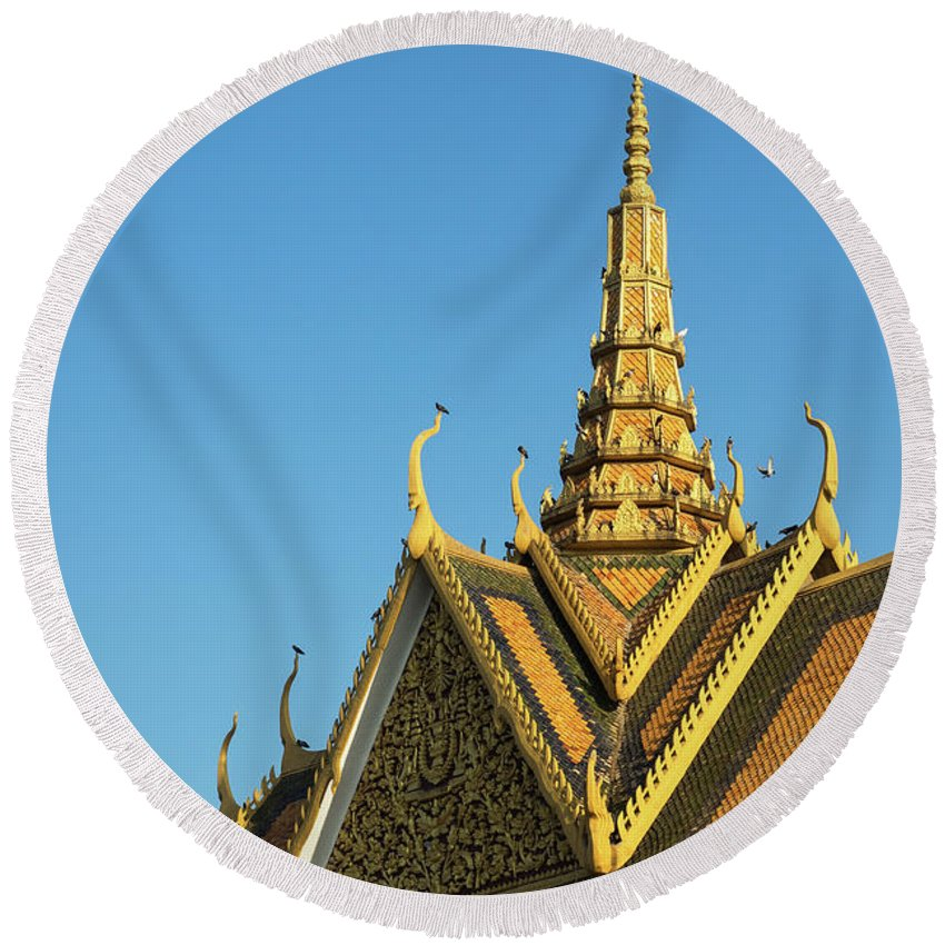 Cambodia Round Beach Towel featuring the photograph Royal Palace 11 by Rick Piper Photography