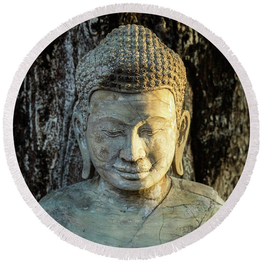 Cambodia Round Beach Towel featuring the photograph Royal Palace Buddha 02 by Rick Piper Photography