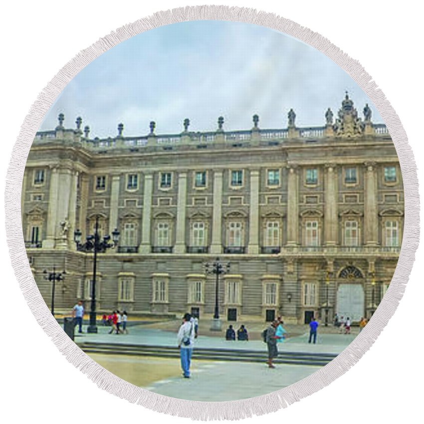 Outdoor Round Beach Towel featuring the photograph Royal Palace In Madrid In A Beautiful Summer Day, Spain by Alexey Larionov