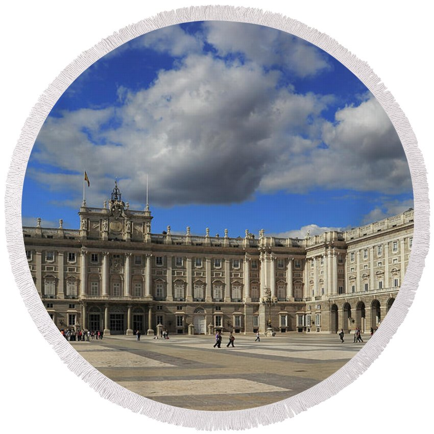 Architecture Round Beach Towel featuring the photograph Royal Palace Of Madrid Spain by Ivan Pendjakov