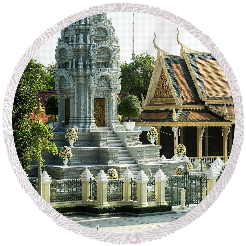 Cambodia Round Beach Towel featuring the photograph Royal Palace Shrine 02 by Rick Piper Photography