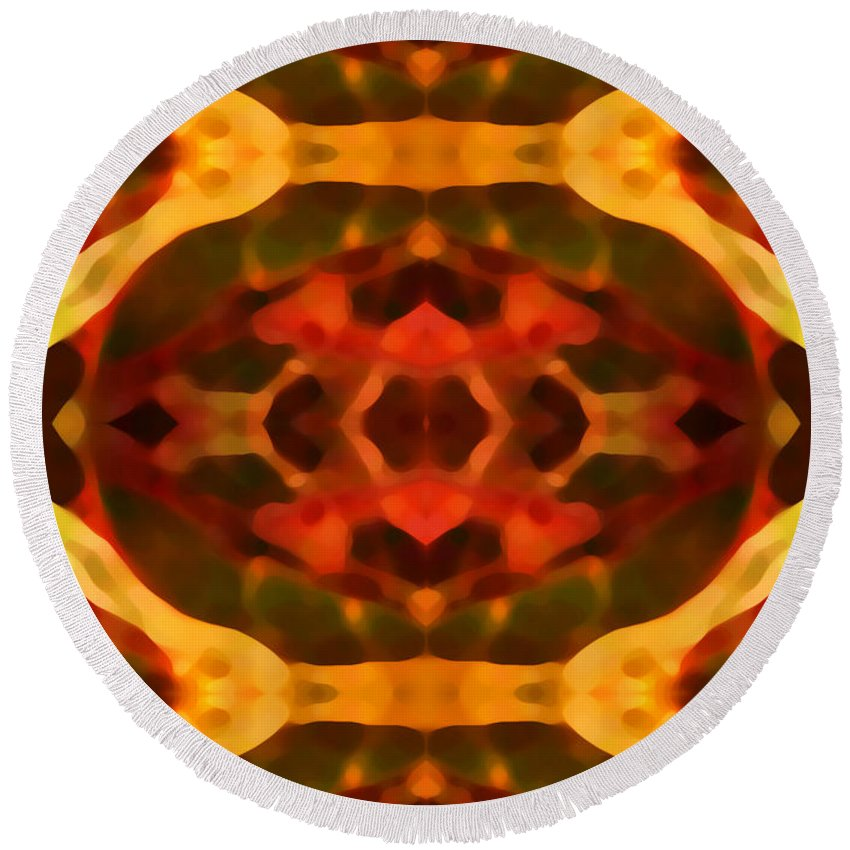 Abstract Painting Round Beach Towel featuring the digital art Ruby Crystal Pattern by Amy Vangsgard