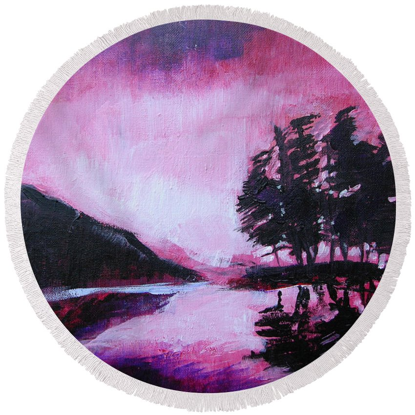 Ruby Dawn Round Beach Towel featuring the painting Ruby Dawn by Seth Weaver