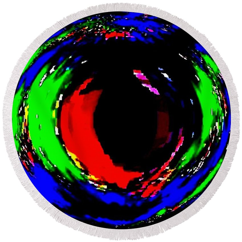 Abstract Round Beach Towel featuring the digital art Ruby Eye by Will Borden
