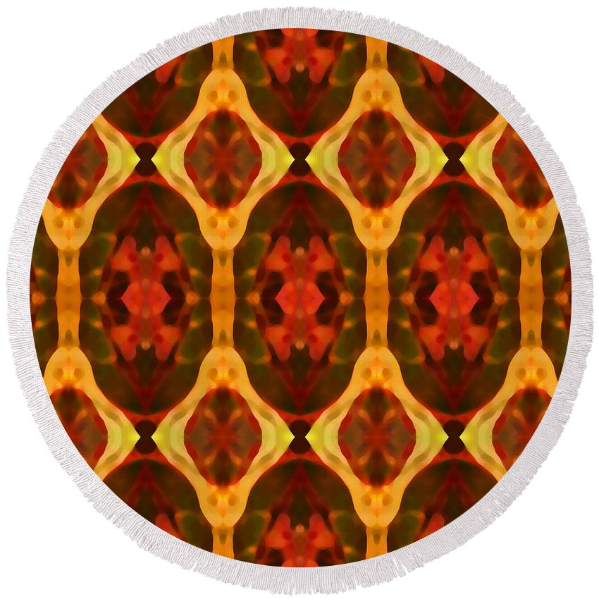 Abstract Round Beach Towel featuring the painting Ruby Glow Pattern by Amy Vangsgard