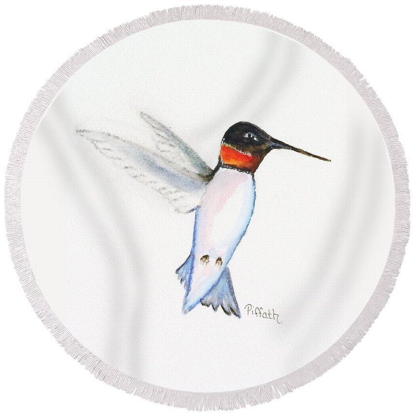 Hummingbird Round Beach Towel featuring the painting Ruby Hummer by Patricia Piffath