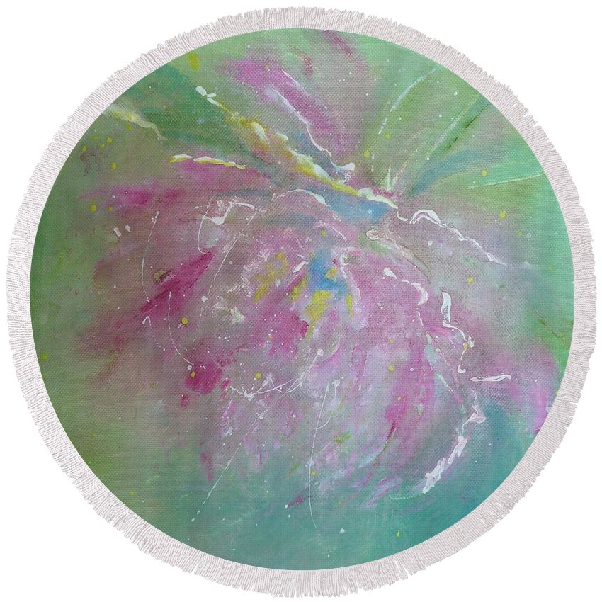 Peony Round Beach Towel featuring the painting Ruby Red Peony by Ruth Kamenev