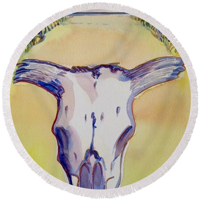 Cow Skull Round Beach Towel featuring the painting Ruby Road by Virginia Vovchuk