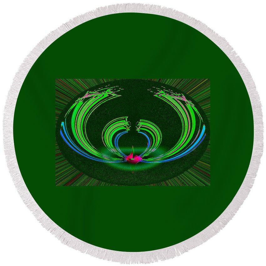 Ruby Round Beach Towel featuring the digital art Ruby Singularity In Emerald Sapphire Nest by Don Quackenbush