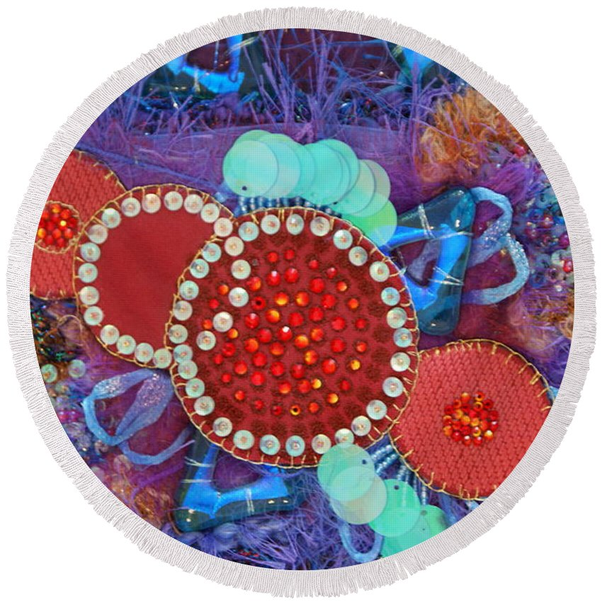 Round Beach Towel featuring the mixed media Ruby Slippers 2 by Judy Henninger