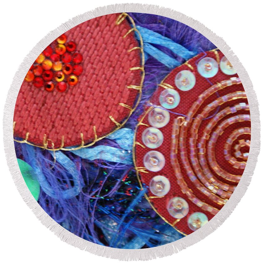 Round Beach Towel featuring the mixed media Ruby Slippers 5 by Judy Henninger
