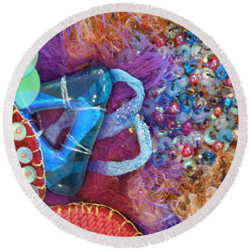 Round Beach Towel featuring the mixed media Ruby Slippers 8 by Judy Henninger