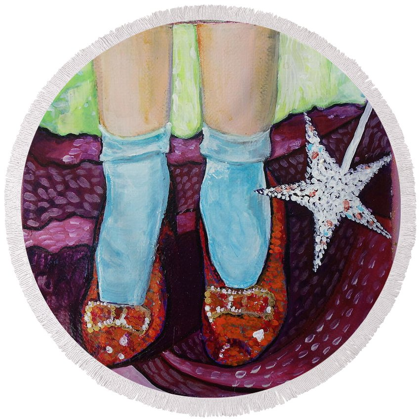 Ruby Slippers Round Beach Towel featuring the painting Ruby Slippers by Tanya Johnston