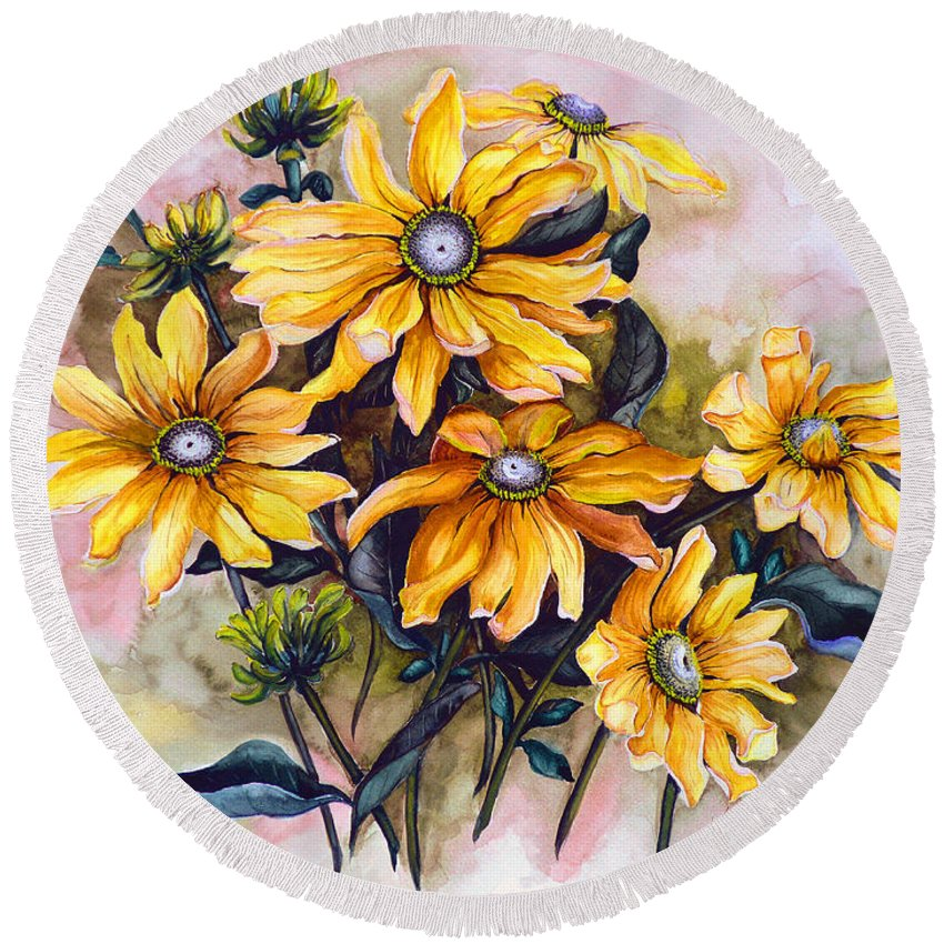 Flower Painting Sun Flower Painting Flower Botanical Painting  Original Watercolor Painting Rudebeckia Painting Floral Painting Yellow Painting Greeting Card Painting Round Beach Towel featuring the painting Rudbeckia Prairie Sun by Karin Dawn Kelshall- Best