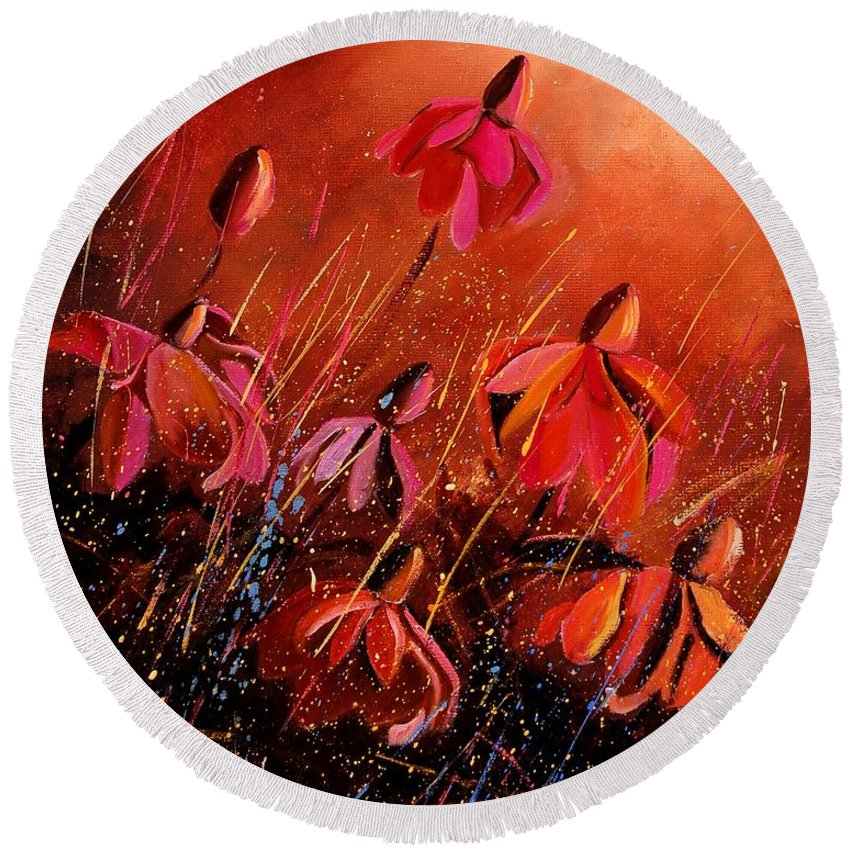 Poppies Round Beach Towel featuring the painting Rudbeckia's 45 by Pol Ledent