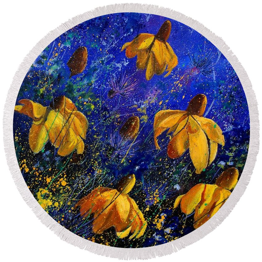 Poppies Round Beach Towel featuring the painting Rudbeckia's by Pol Ledent