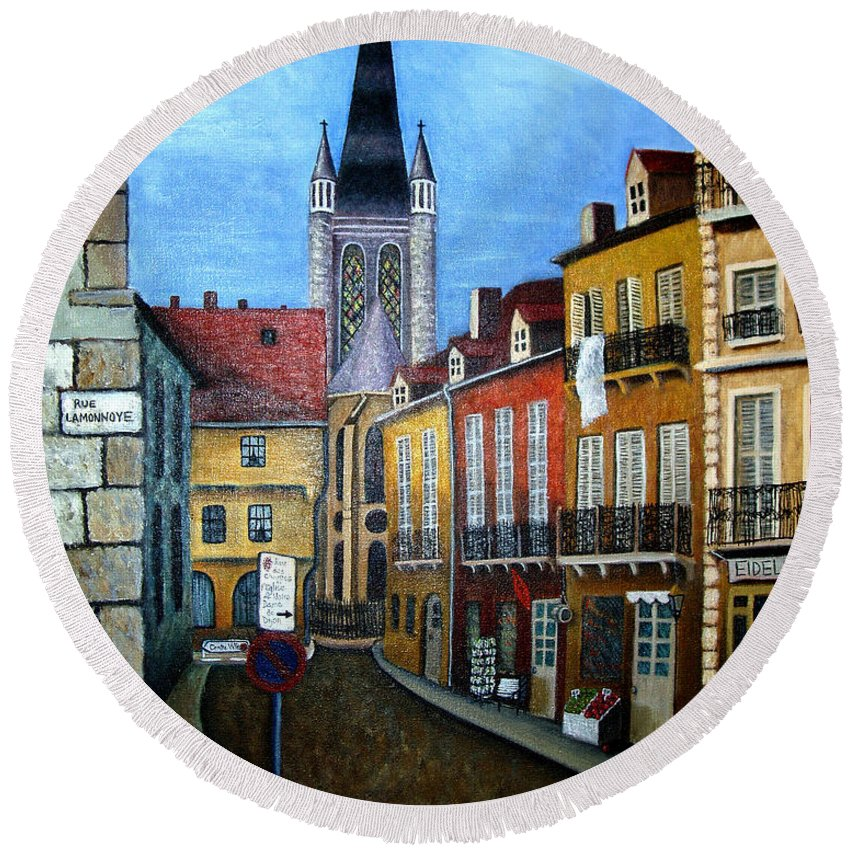 Street Scene Round Beach Towel featuring the painting Rue Lamonnoye In Dijon France by Nancy Mueller