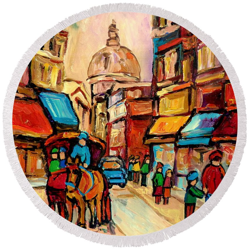 Montreal Streets Round Beach Towel featuring the painting Rue St Jacques Old Montreal Streets by Carole Spandau