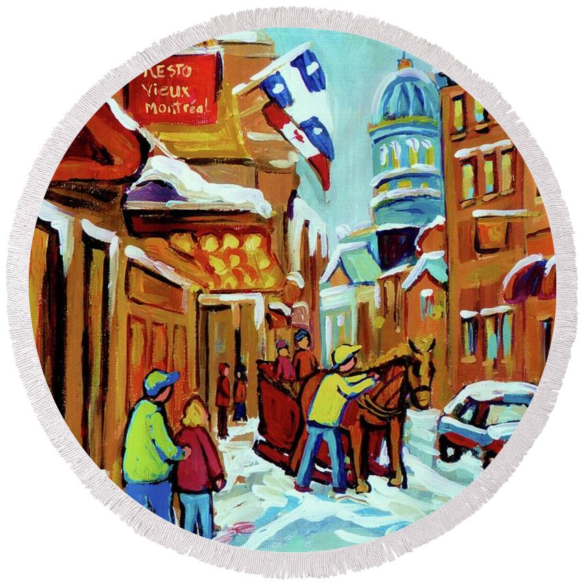 Montreal Round Beach Towel featuring the painting Rue St Paul Montreal Streetscene Cafes And Caleche by Carole Spandau