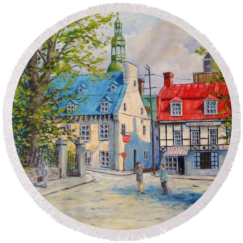 Ste Anne Round Beach Towel featuring the painting Rue Ste Anne 1965 by Richard T Pranke