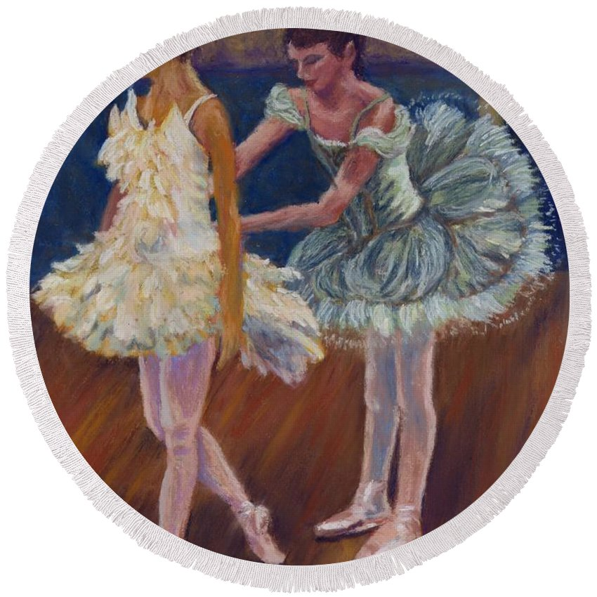 Ballerina Round Beach Towel featuring the painting Ruffled Feathers by Sharon E Allen