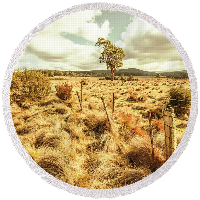 Australia Round Beach Towel featuring the photograph Rugged Australian Pastures by Jorgo Photography - Wall Art Gallery
