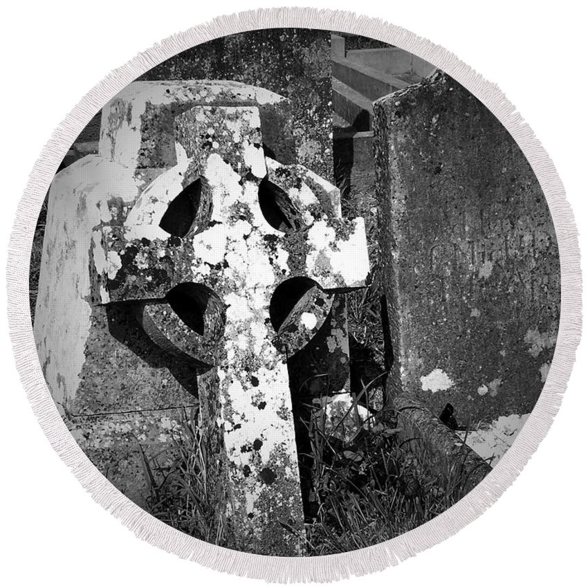 Celtic Round Beach Towel featuring the photograph Rugged Cross At Fuerty Cemetery Roscommon Ireland by Teresa Mucha