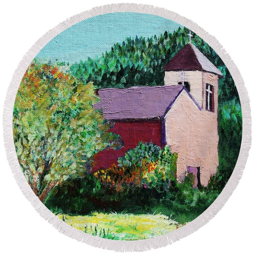 Church Round Beach Towel featuring the painting Ruidoso by Melinda Etzold